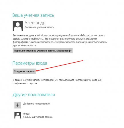 Як поставити пароль на компютер Windows 8?